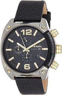 ساعة للرجال بمينا باللون الأسود وسوار جلد من ديزل - طراز DZ4375