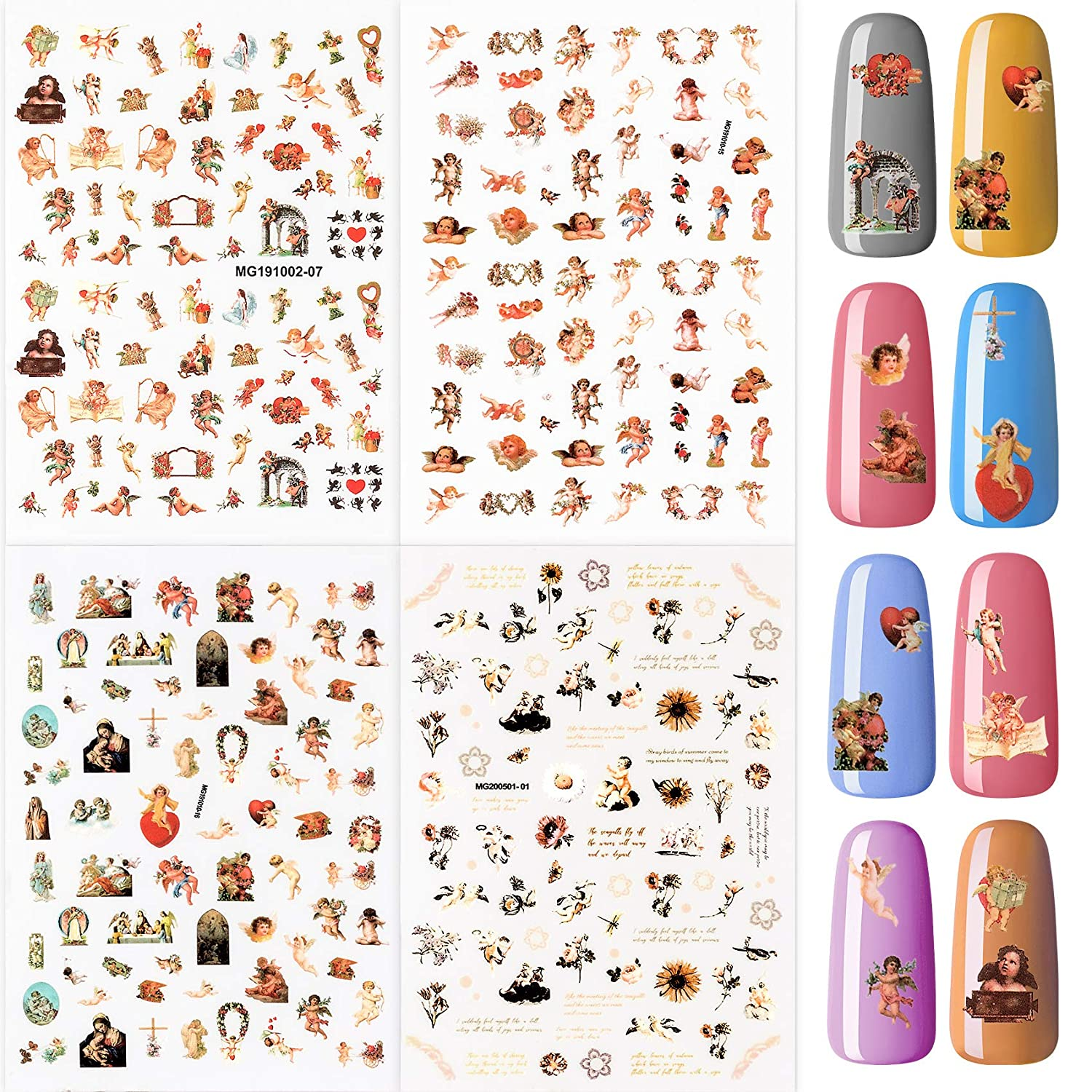 PAGOW 4 Special price Sheets Angel Nail Art Baby Baroque St Be super welcome Decals