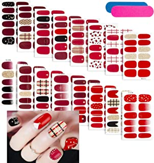 16 Sheets Nail Polish Stickers, Glitter DIY Self-Adhesive Full Nail Wraps Nail Art..