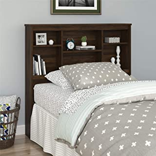 REALROOMS Lacey Twin Storage Headboard, Walnut