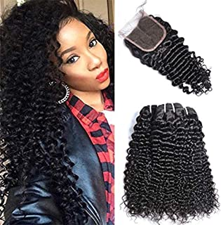 Brazilian Deep Curly Hair With Closure 10 with 12 14 16 Virgin Curly Weave Human Hair 3 Bundles With Free Part Lace Closure GEM Beauty Hair Products Natural Black