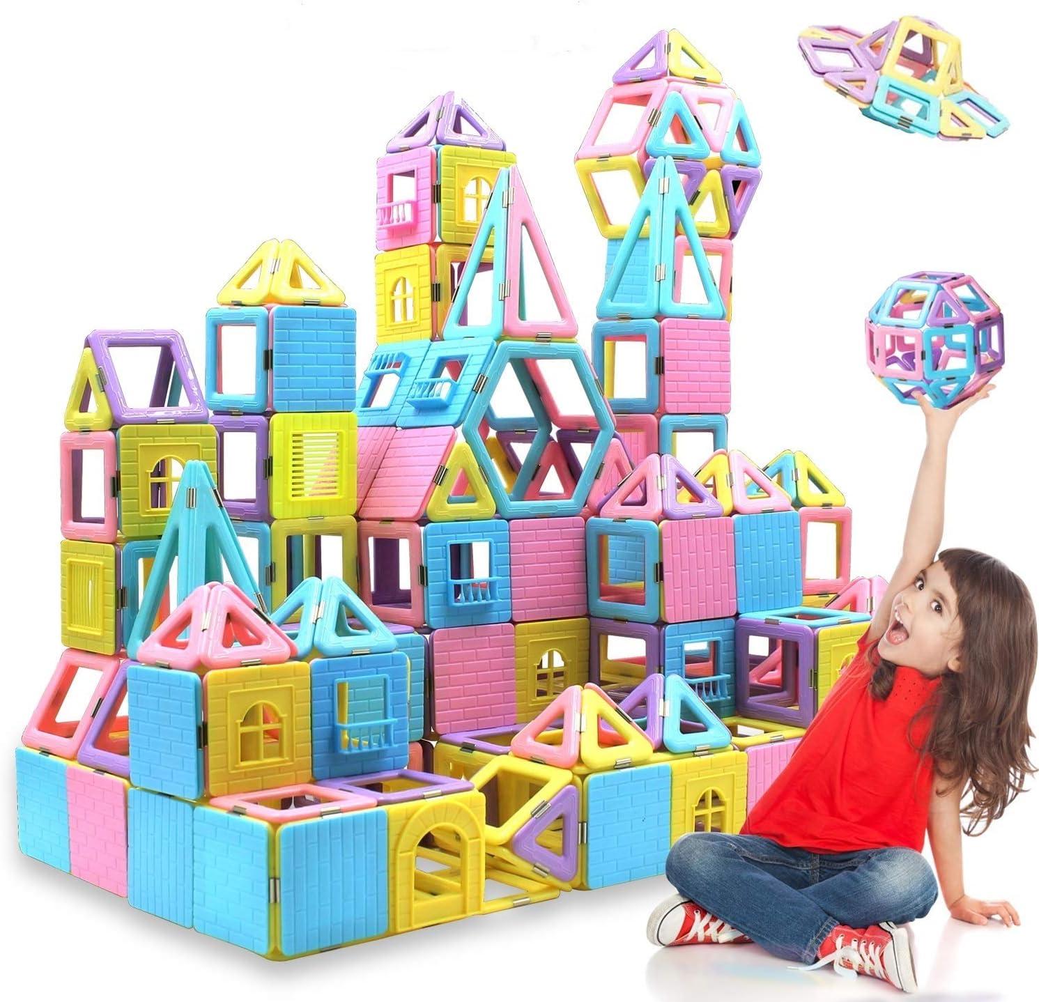 HOMOFY 124PCS Magnetic Building Blocks Magnet Tiles Early Educational &...