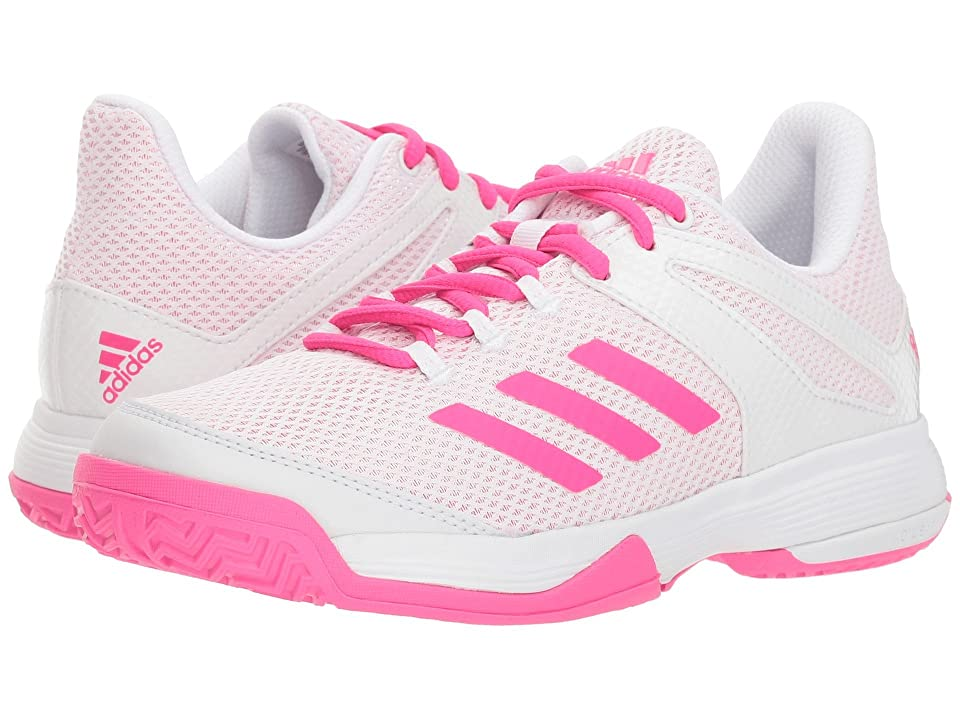 adidas Kids Adizero Club Tennis (Little Kid/Big Kid) (White/Shock Pink) Girl