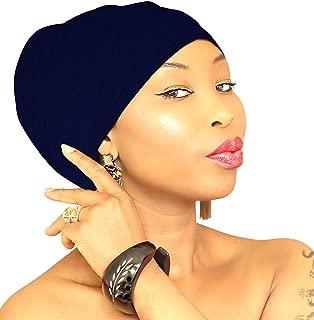 BLACK HIJAB   Black Head Wraps Head Scarf African HeadWrap Light Weight Hair loss Turban Jersey Hijab Hair Accessories   ROYAL HEAD WRAPS (Plain Navy)