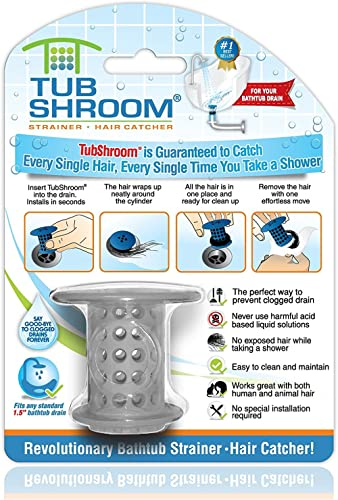 TubShroom The Revolutionary Tub Drain Protector Hair Gray