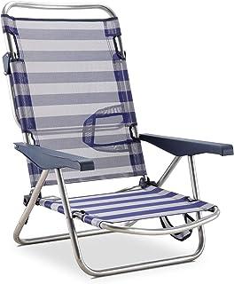 Solenny 50001072725168 -  Silla Playera-Cama 4 Posiciones  Azul y Blanca con Asas y con Pata Plegable en el respaldo