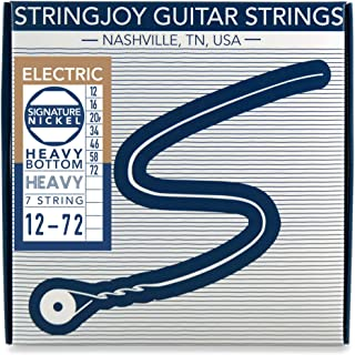 Stringjoy HVY127 7 String Signature Nickel Electric Guitar Strings, (Heavy Bottom Heavy Gauge - 12-72)
