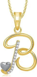 MEENAZ Jewellery 'B' Letter Pendant for Girls Women Men Unisex Alphabet Heart Pendant for Women in American Diamond Jewell...