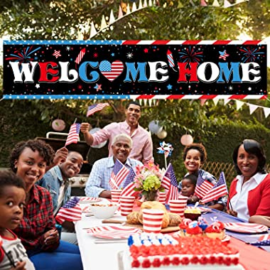 Welcome Home Banner Large Fabric Patriotic Theme Welcome Banner Garland Hanging Backdrop Sign Decoration for Greeting Police