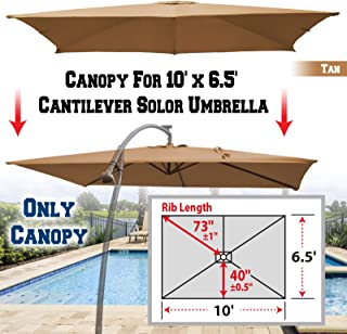 BenefitUSA Replacement Canopy Cover for 10' X 6.5' Cantilever Patio Umbrella Offest Parasol Top Replacement (Tan)
