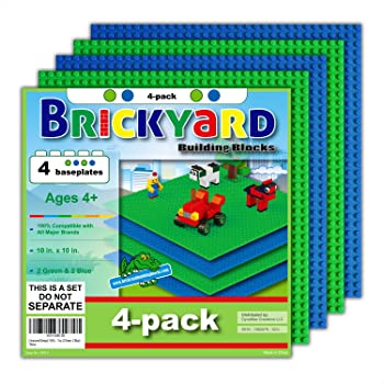 Brickyard Building Blocks 4 Baseplates, Improved Design 10 x 10 Inches Large Thick Base Plates for Building Bricks, for Activity Table or Displaying Compatible Construction Toys (2 Green, 2 Blue)