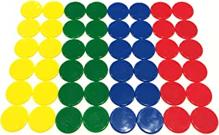 Plastic Counters: Blue, Red, Yellow, and Green Color Gaming Tokens (Hard Colored Plastic Coins, Markers and Discs for Bingo Chips, Tiddly Winks, Checkers, and Other Board Game Playing Pieces)