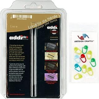 addi Knitting Needles Click Interchangeable Tips Standard Rocket (Long) Lace White-Bronze Finish 5 inch (13cm) Size US 06 (4.0mm) Bundle with 10 Artsiga Crafts Stitch Markers