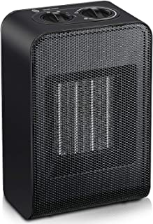 HOLIKE Portable Space Heater, 1500W/750W PTC Ceramic Space Heater with Adjustable Thermostat for Office Home Bedroom Desk - Black