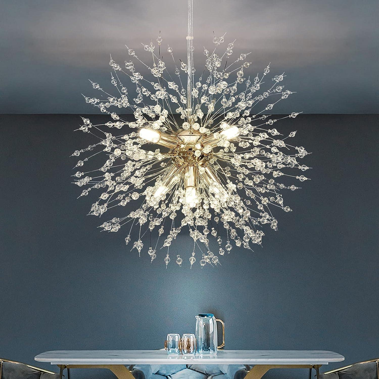 35% OFF Colorado Springs Mall HUOKU Chandelier Modern Crystal Lighting Gold Dandelion Pendant