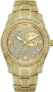 ساعة جيت سيتر جي ام تي الفاخرة للرجال من جيه بي دبليو، مرصعة بـ 100 ماسة وتتميز بنطاقين زمنيين - طراز J6370A