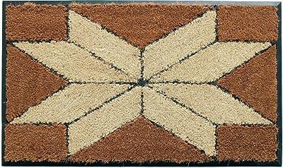 Coco&Coir Natural Coir | Non-Slip | Thick Coir | Premium Quality | Rubber Backed | Eco-Friendly | Indoor | Outdoor | Heavy Duty | Entrance Door Mat | 45 x 75 cm (Indian Star)