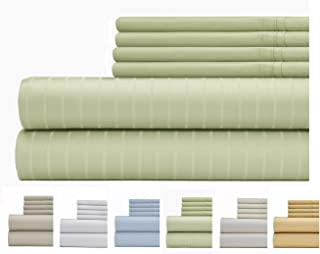 Weavely Sheet Set - 700 Thread Count Cotton-Poly Blend Bed Sheet, Pin Stripe 6 Piece Bedding Set, Hotel Quality Sheet Set with 2 Extra Pillow Cases, 15 inch Elastic Deep Pocket Fitted Sheet-Full-Sage