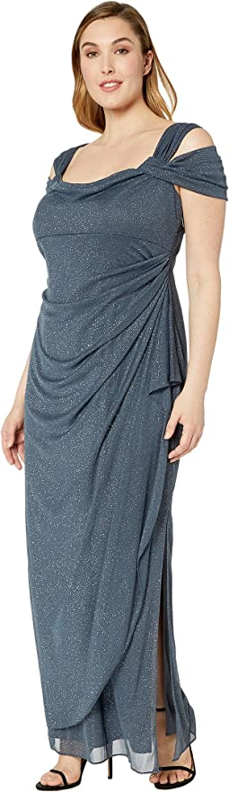 Plus Size Long Glitter Mesh Cold Shoulder Dress