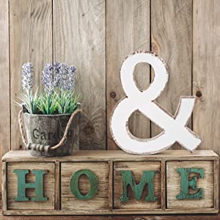 Wooden Wall Letters Decor Rustic 3D ampersand Hanging Sign Vintage Style Letters Sign for Tabletop Freestanding Birthday P...