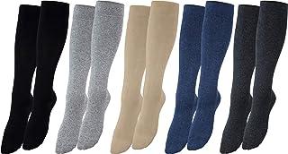 Medias de apoyo hasta la rodilla, medias de viaje hasta la rodilla de algodón, de señora y caballero, de compresión, lote ahorro de 2, 4 y 6 unidades