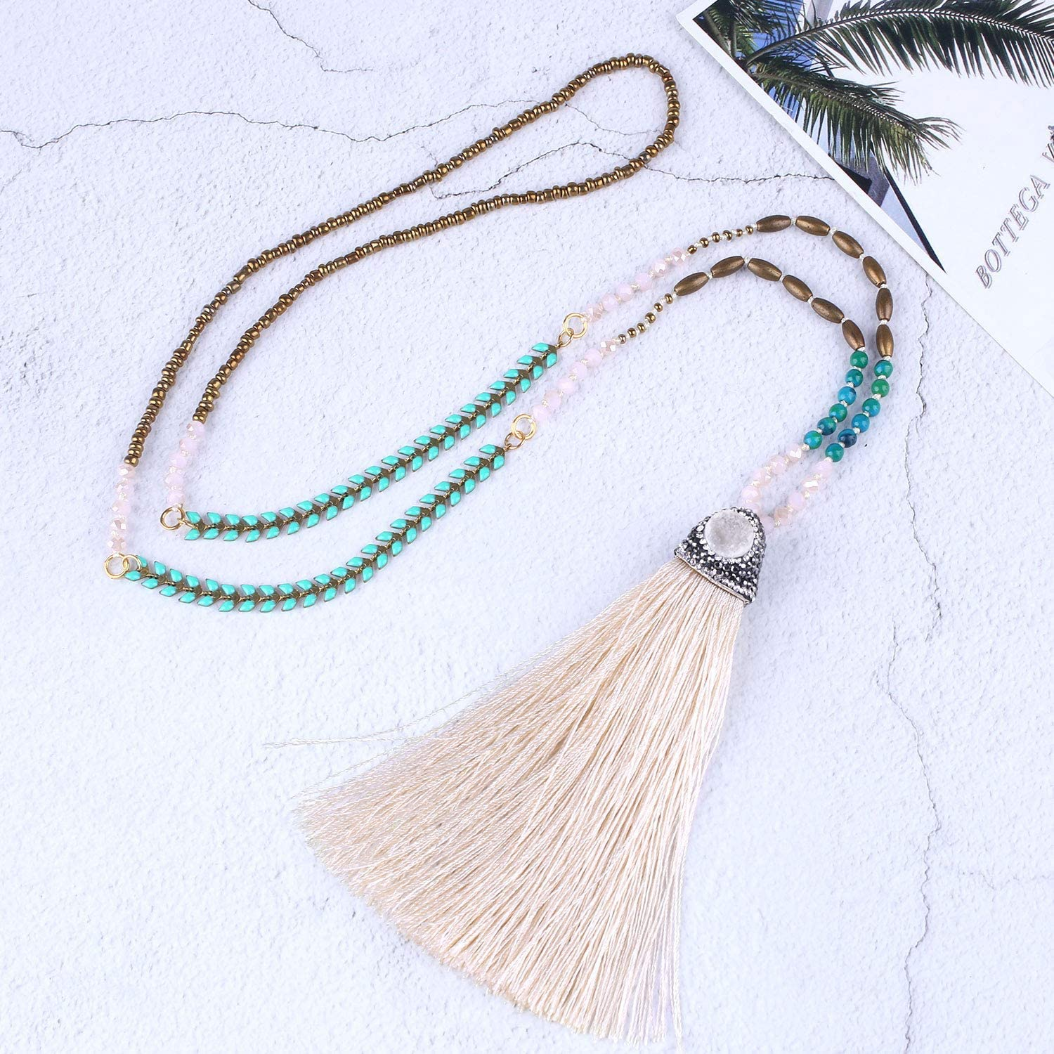 C·QUAN CHI Women Tassel Necklace Crystal Beads Necklace Handmade Pearl Charms Chain Lockets Necklace