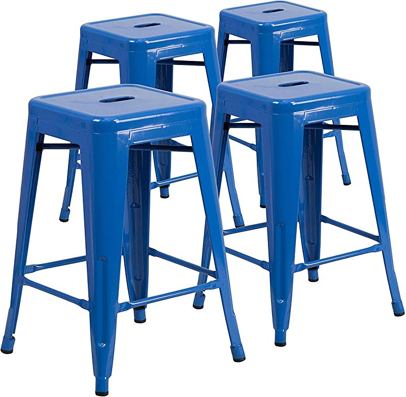 Vogue Furniture Direct 24 High Barstools Backless Blue Metal Barstool Indoor Oudoor Counter Height Stool With Square Seat Set Of 4