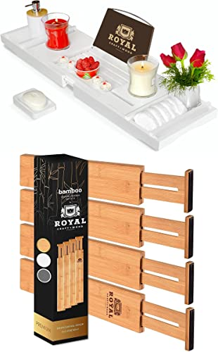 2021 ROYAL CRAFT WOOD wholesale Luxury Bathtub Caddy Tray popular (White) and Drawer Dividers 17IN outlet sale
