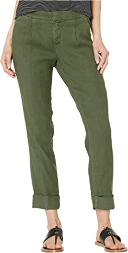 Everyday Pleated Ankle Trousers in Olivine