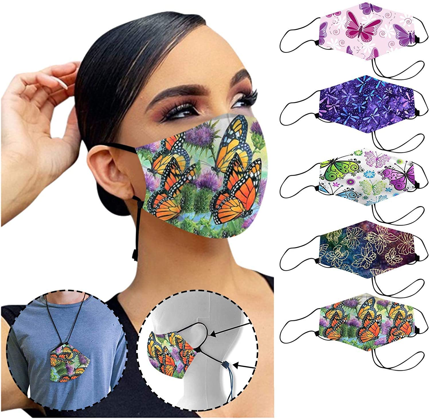 Stylish Cloth Cotton Mouth, Women Reusable Petal Printing Face Mouth with Filter Pocket, Adjustable Ear Loops