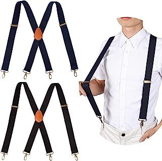 آویزهای مردانه 2PCS قلاب های محکم و سنگین قابل تنظیم با کش های قابل تنظیم الاستیک بزرگ و بلند X-Back x 1x سیاه 1xBlue)