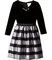 Us Angels - Velvet Lace Stripe Brocade 3/4 Sleeve w/ Full Skirt (Big Kids)