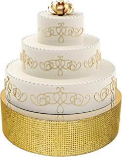 Eleganty Bling Wedding Cake Stand - Supports Heavy Multi-tier Cake, Cupcake and Dessert Base Decorative Centerpiece Display, Gold - 14 Inches - Round