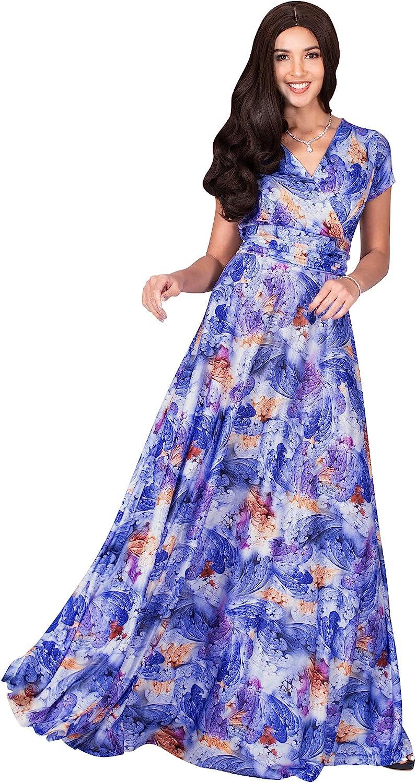 KOH KOH Womens Short Sleeves V-Neck Floral Flowy Elegant Casual Long Maxi Dress