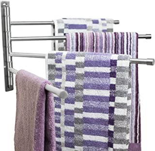 Swing Out Towel Bar - Stainless Steel  Swivel Towel Rack - Space Saving Swinging Towel Bar for Bathroom - Wall Mounted Towel Holder Organizer with 4 Arms- Easy To Install - Brushed Finish (20