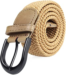 Braided Stretch Elastic Belt Pin Oval Solid Black Buckle Leather Loop End Tip Men/Women/Junior (7 Sizes 12 Colors )