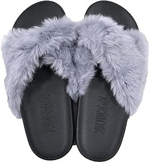 VS PINK Victorias Secret Faux-Fur Crisscross Slide (Medium, Grey)