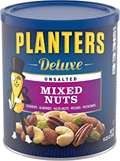 Planters PLANTERS Deluxe, oz. Resealable Container - Variety Unsalted Nuts with Cashews, Almonds, Hazelnuts, Pistachios & ...