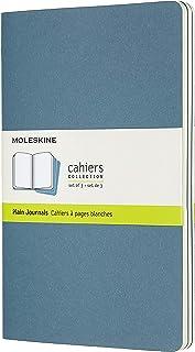 "Moleskine Cahier Journal, Soft Cover, Large (5"" x 8.25"") Plain/Blank, Brisk Blue, 80 Pages (Set of 3)"