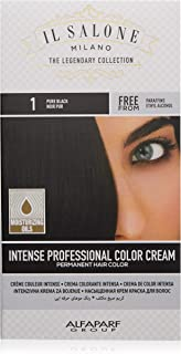 Il Salone Milano Professional Permanent Color Kit - 1 Pure Black - 100% Gray Coverage Hair Dye - Paraffin Free - Ethyl Alcohol Free - Moisturizing Oils