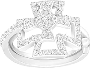 Finecraft Maltese Cross Swing Ring with Cubic Zirconia in Sterling Silver-Plated Brass