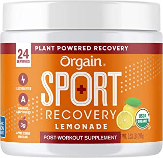 Orgain Lemonade Sport Recovery Post-Workout Powder - Made with Apple Cider Vinegar, Turmeric, Ginger, and Ashwaganda, Glut...