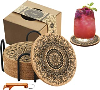 Coasters for Drinks, Jecarden Coasters for Wooden Table Coasters for Drinks Absorbent with Holder 8-Pack Nature Cork Coast...