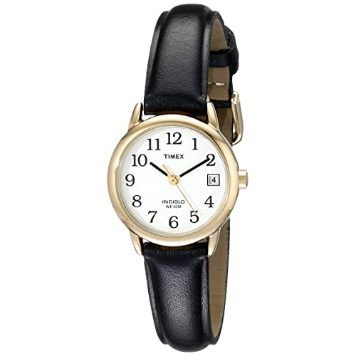 Timex Womens Indiglo Easy Reader Quartz Analog Leather Strap Watch with Date Feature