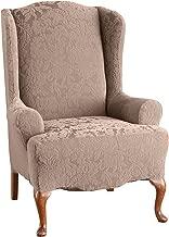 Surefit Stretch Jacquard Damask -  Chair Slipcover, Mushroom, One Piece