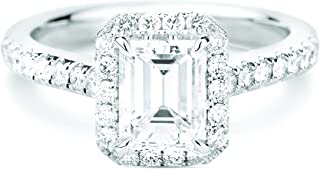 4.60Ct Emerald Cut White Simulated Diamond Sterling Silver Solitaire Halo Wedding Engagement Ring