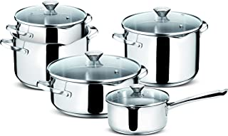 Lagostina Smart Set of Saucepans in Stainless Steel, 9 Pieces) by Lagostina