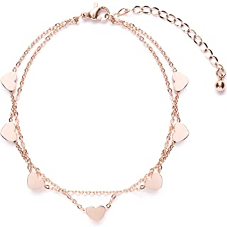Happiness Boutique Delicate Bracciale in Oro Rosa con Ciondolo Cuore | Braccialetto Doppia Catenina Stile Minimal Senza Ni...