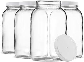 Paksh Novelty 1-Gallon Glass Jar Wide Mouth with Airtight Plastic Lid - USDA Approved BPA-Free Dishwasher Safe Mason Jar f...