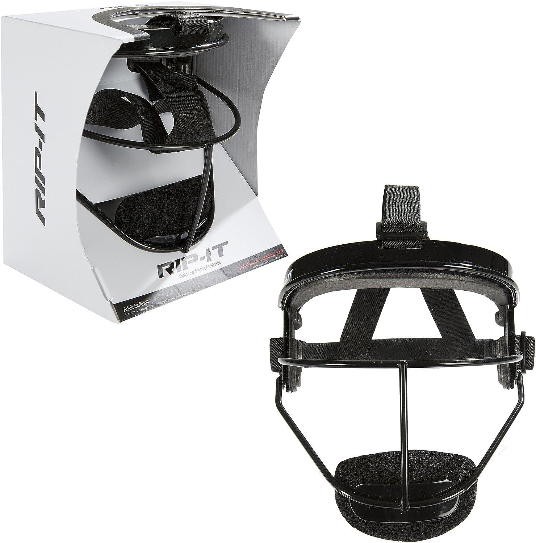 RIP-IT Defense Softball Fielder Máscara – Ajuste Seguro Ligero Proporciona la máxima protección y Comodidad – No obstaculiza la Vista – Apto para Cola de Caballo – Negro – Adulto